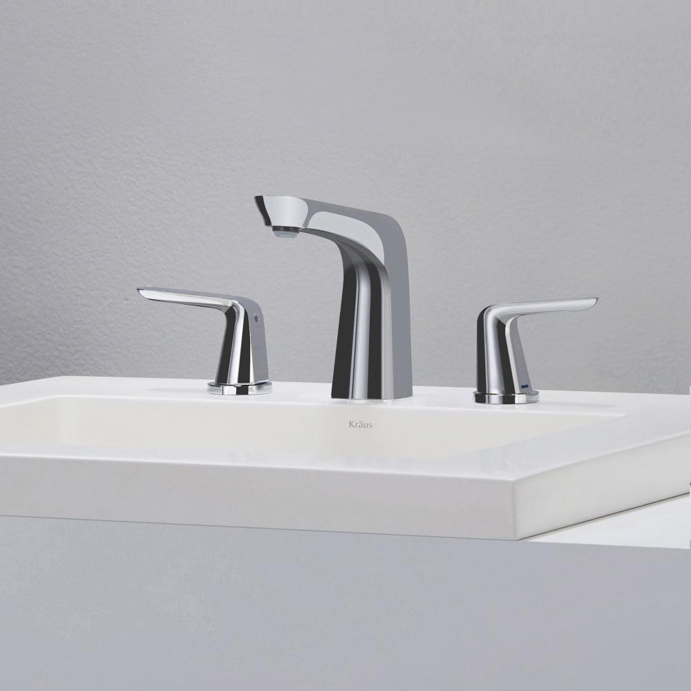Kraus Fus1823ch Double Handle Cast Spout Widespread Bathroom Faucet With 5 Inch Spout Reach 4