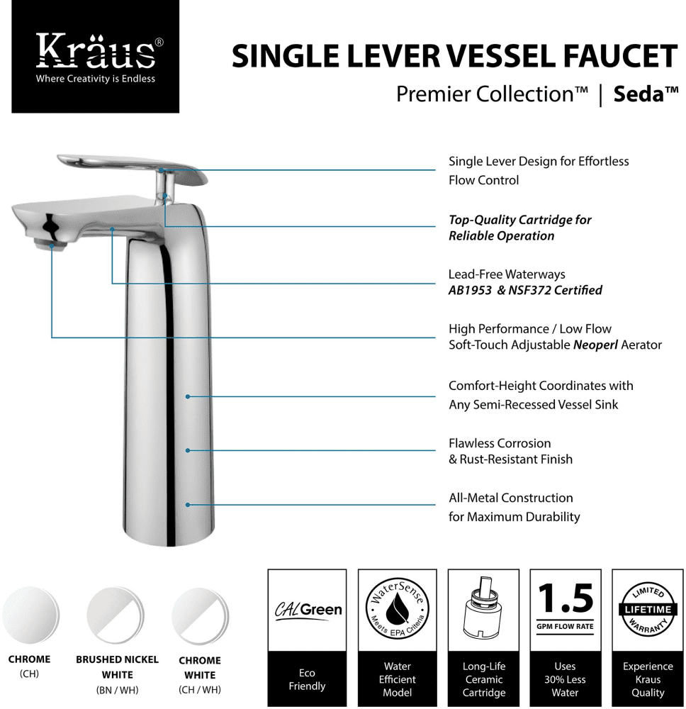 Kraus Fvs1820ch Single Handle Cast Spout Vessel Sink