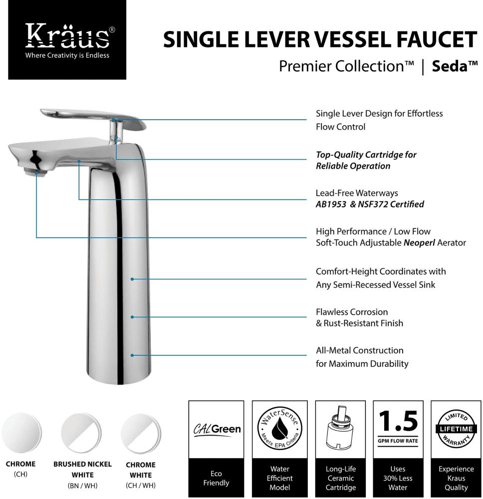 Kraus FVS1820CH Single Handle Cast Spout Vessel Sink Bathroom Faucet ...