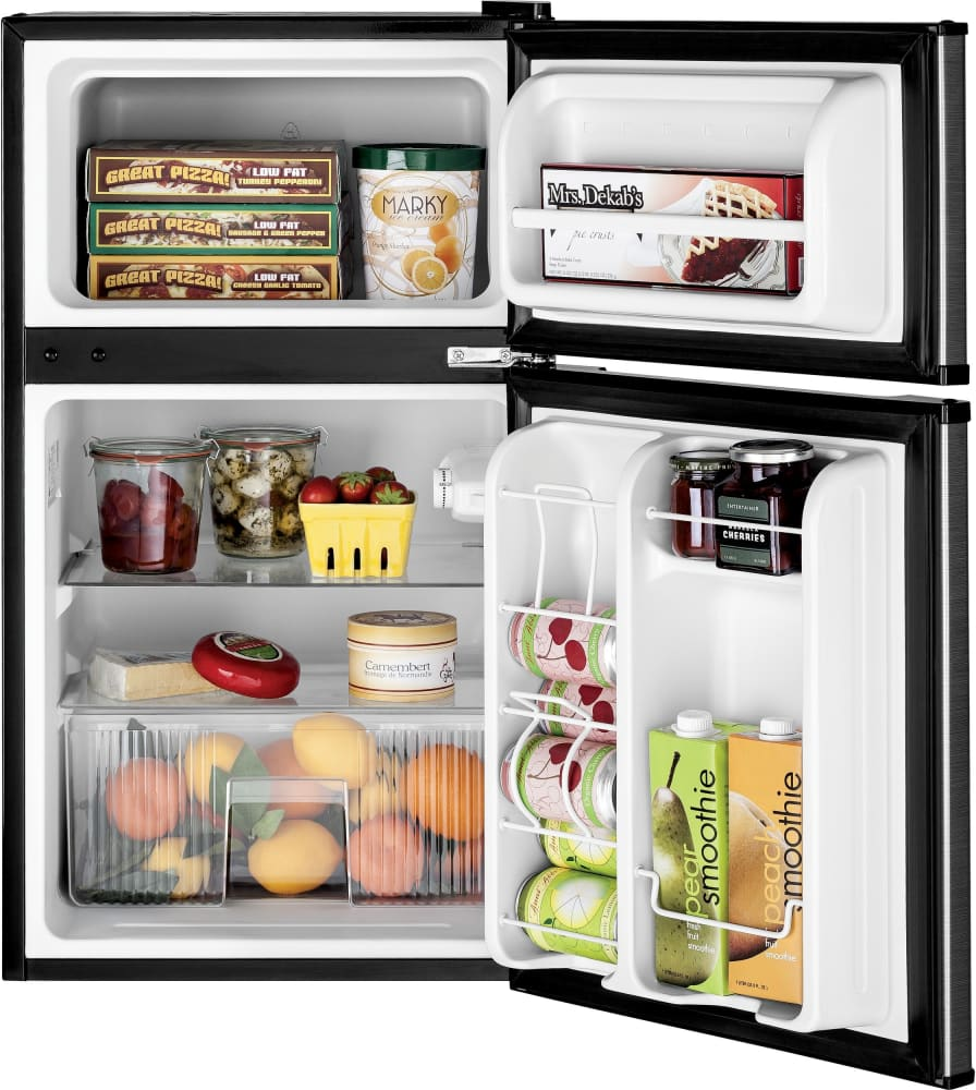 Ge Gde03glklb 19 Top Freezer Compact Refrigerator In Cleansteel