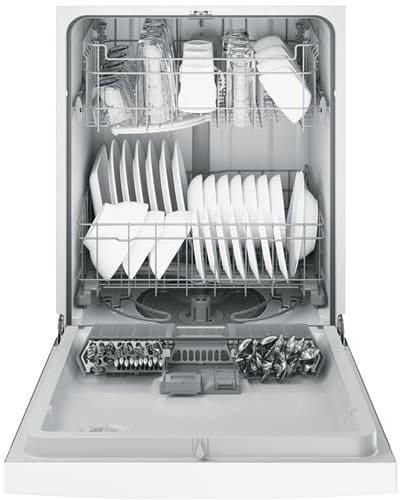 Ge Gdf510pgjww Full Console Dishwasher With Piranha Hard Food