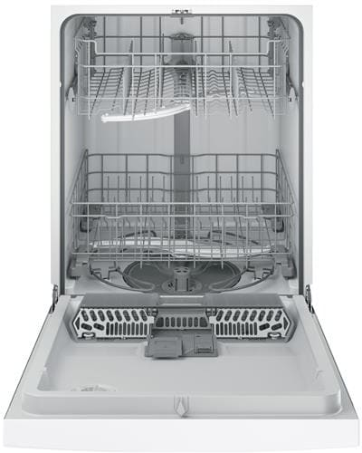 in White GE GDF510PGJWW 24 Built In Full Console Dishwasher with 4 Wash Cycles