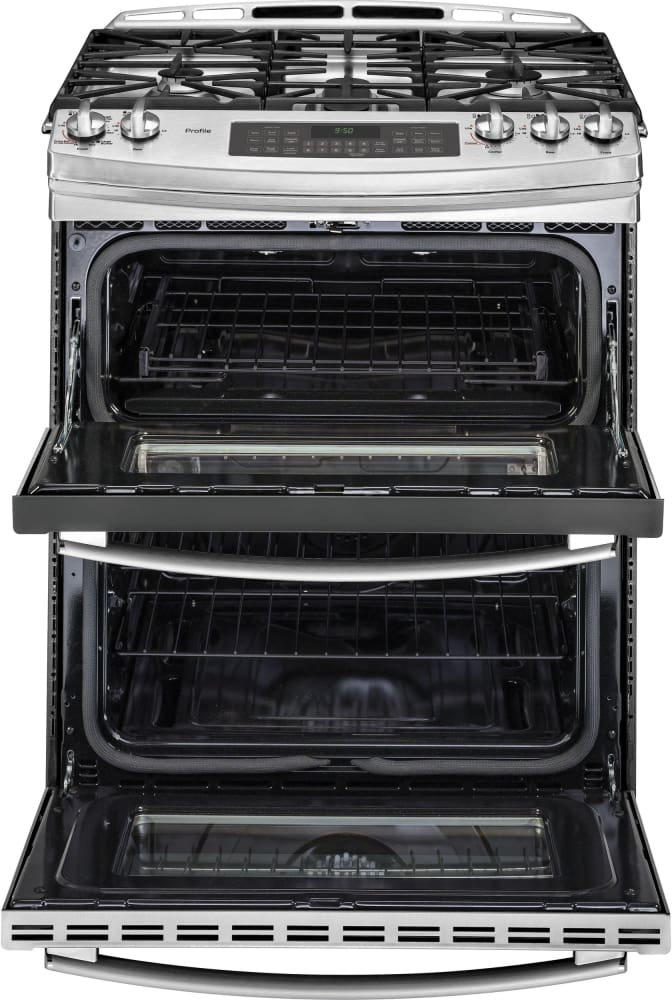 GE PGS950SEFSS 30 Inch Slide-In Double Oven Gas Range With