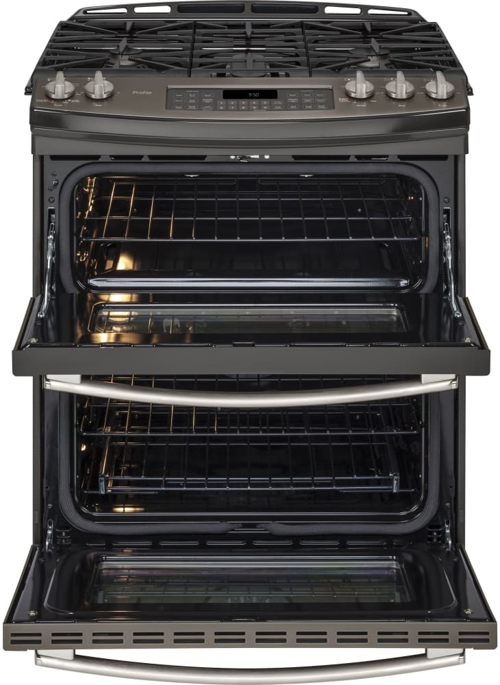 ge pgs950eefes 30 inch slide in double oven gas range with. Black Bedroom Furniture Sets. Home Design Ideas