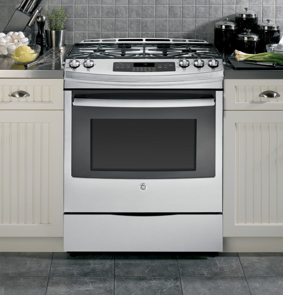 GE JGS750SEFSS 30 Inch Slide In Gas Range With Convection Power