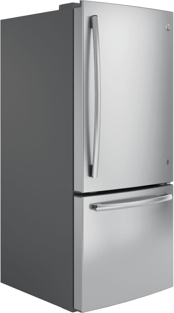 refrigerator bottom freezer. ge gbe21dskss - stainless front view side refrigerator bottom freezer i