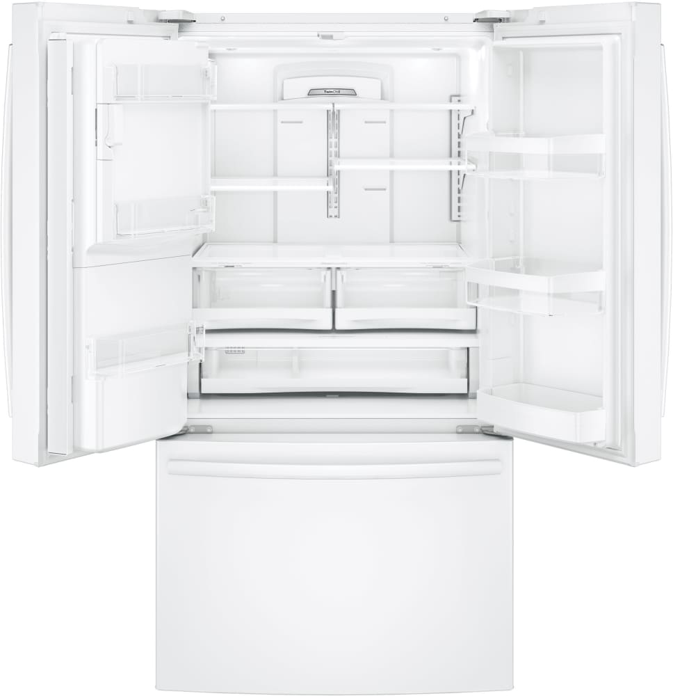 ... French Door Refrigerator   White GE GFE26GGKWW   25.8 Cu.