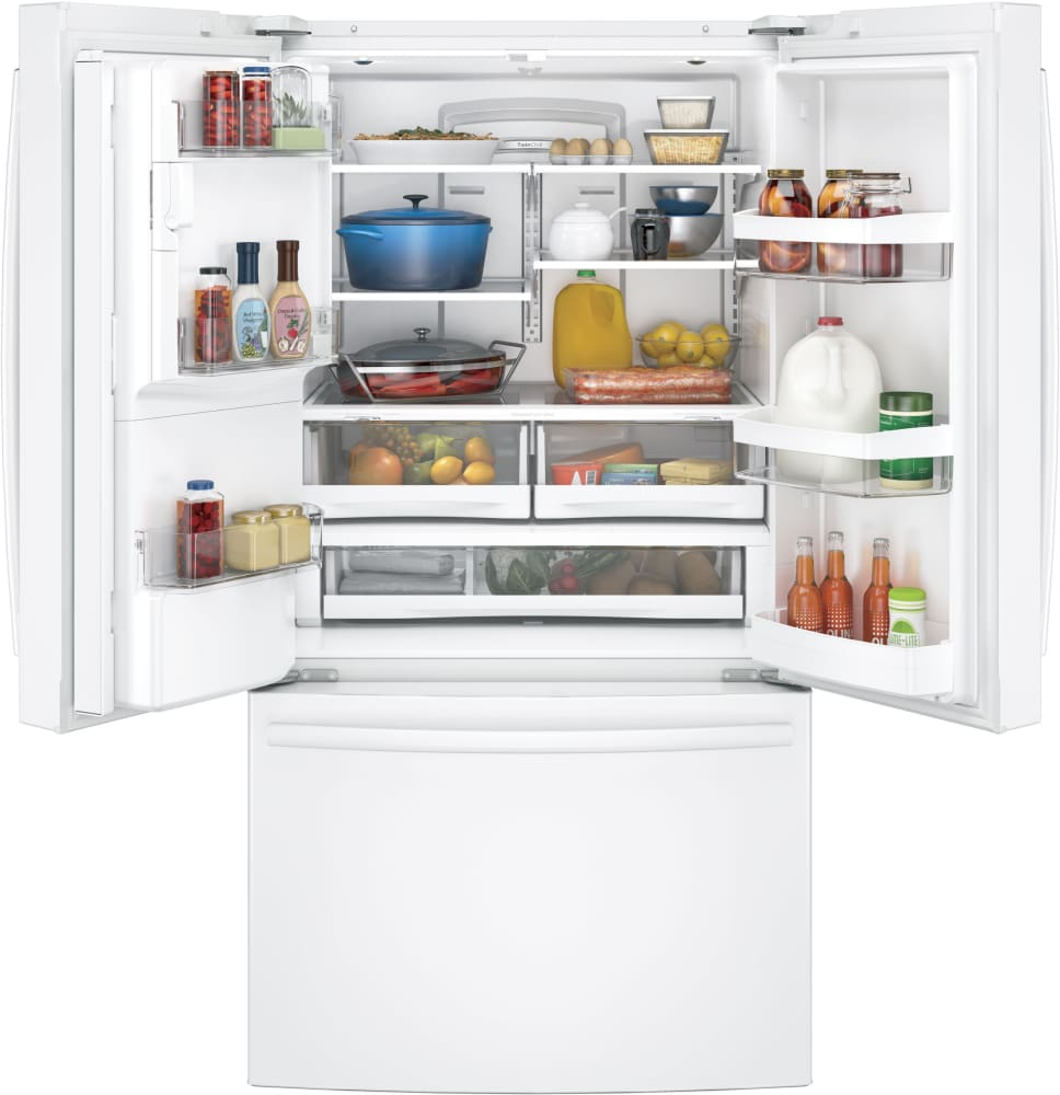 Ge gfe28ggkww 36 inch french door refrigerator with twinchill ft capacity interior eventelaan Images