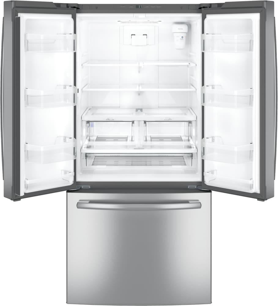 Ge gne25jskss 33 inch french door refrigerator with internal water ge gne25jskss open view rubansaba