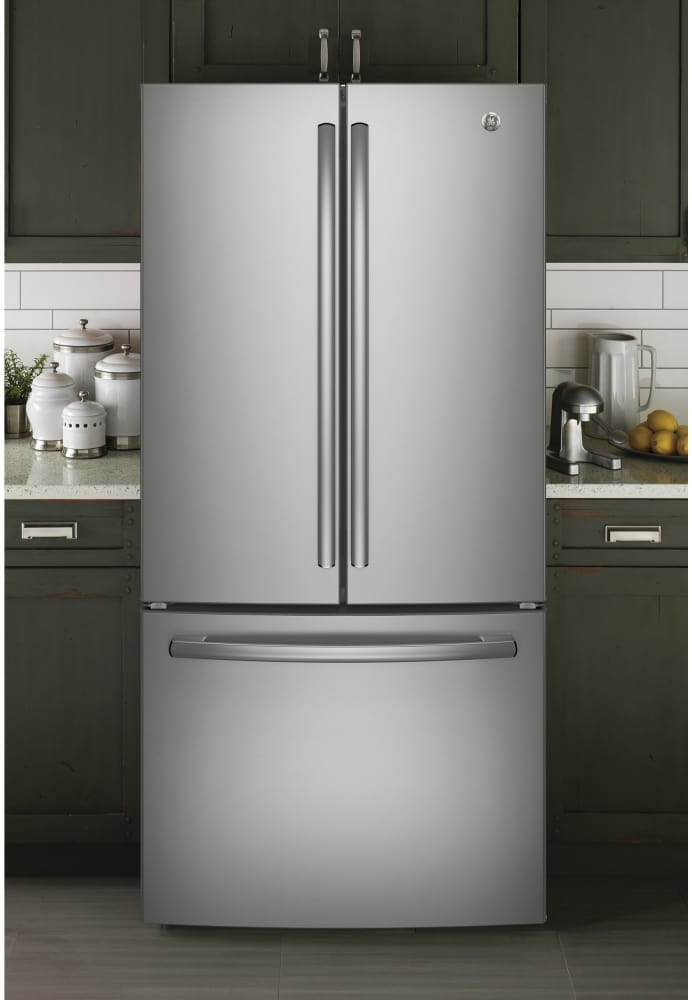 Ge Gne25jskss 33 Inch Smart French Door Refrigerator With