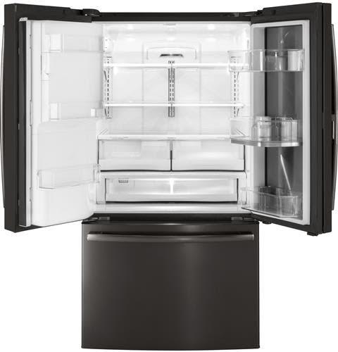 Ge gfd28gblts 36 inch french door refrigerator with door in door twinchill evaporators for Ge exterior refrigerator icemaker filter