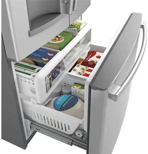 Ge gfd28gslss 36 inch french door refrigerator with door in door twinchill evaporators for Ge exterior refrigerator icemaker filter