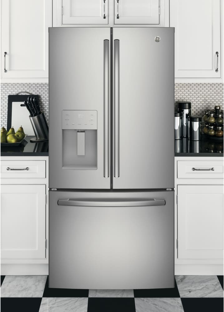 Ge Gfe24jskss 33 Inch French Door Refrigerator With Turbo Cool Tall