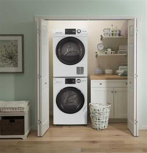 Ge Gewadrewd1482 Stacked Washer Dryer Set With Front Load Washer And Electric Dryer In White