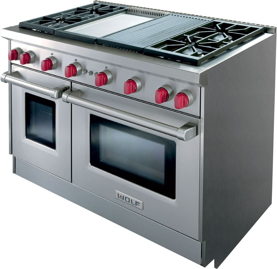 Wolf GR484CGX 48 Inch Pro-Style Gas Range with 4 Dual-Stacked ...