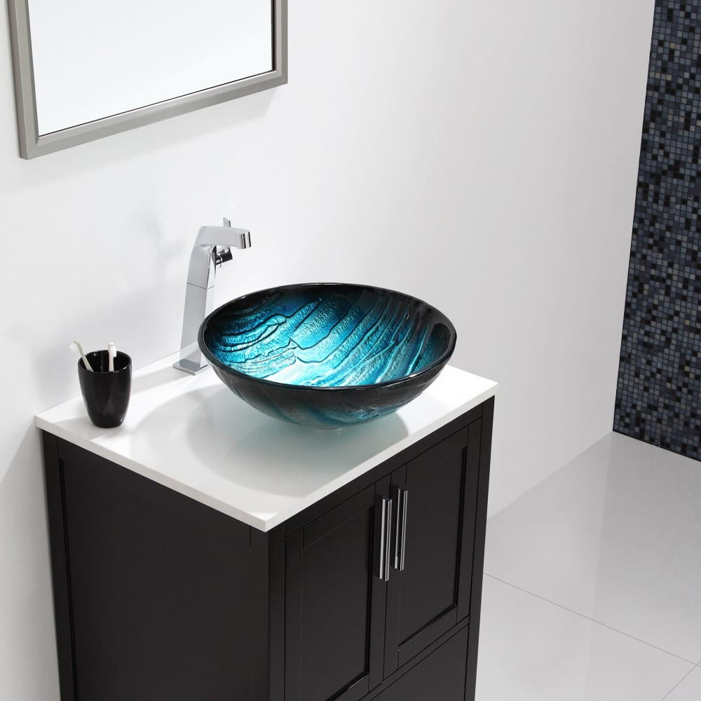 Kraus Gv39919mm 17 Inch Ladon Glass Vessel Sink With 6