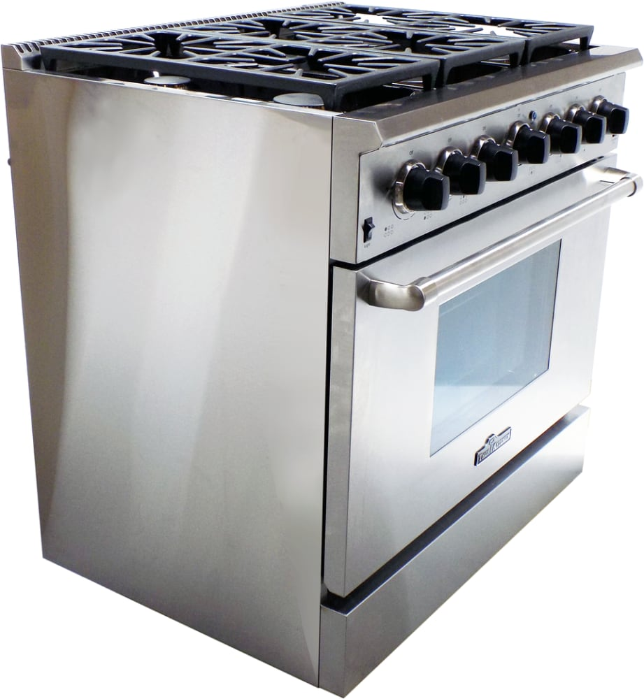 thor kitchen hdm3601u 36 inch gas range with commercial convection fan automatic reignition controlled dual burner