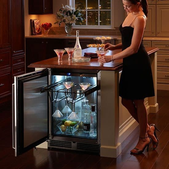 Open Concept Kitchen Shelves: Perlick HP24FS32L 24 Inch Built-in Undercounter Freezer With 5.2 Cu. Ft. Capacity, Digital