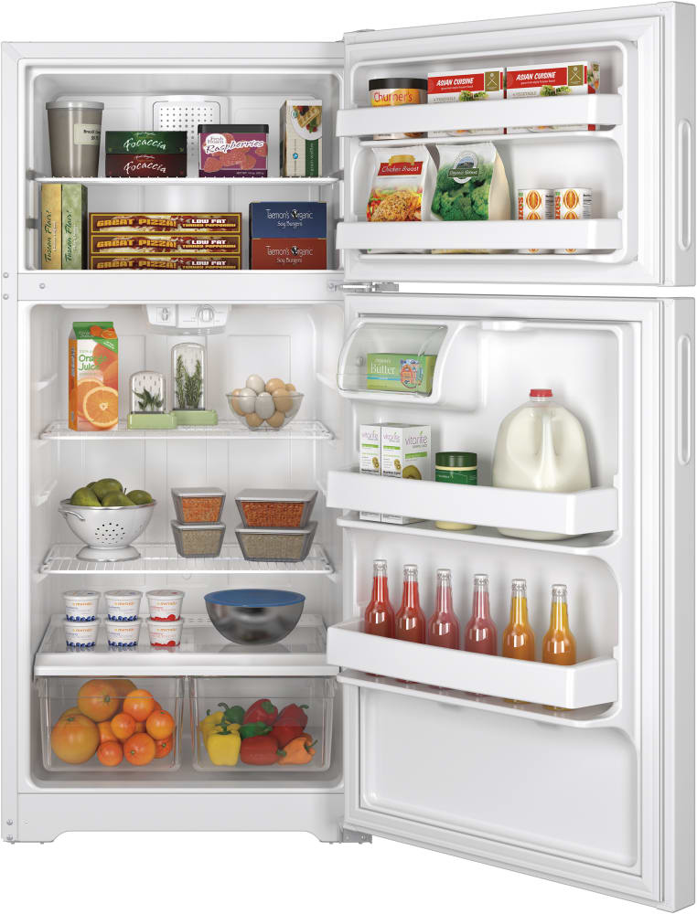 Ge Hpe15bthww 28 Inch Top Freezer Refrigerator With 2 Wire Shelves  2 Storage Drawers  2 Gallon
