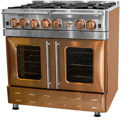 bluestar precious metals collection infused copper six burner range pictured