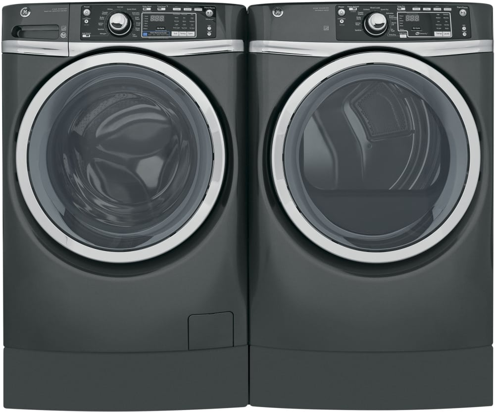 ge gewadred81 side by side washer dryer set with front load washer and electric dryer in grey. Black Bedroom Furniture Sets. Home Design Ideas