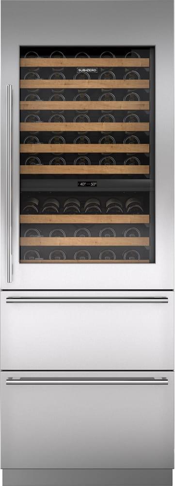 Sub Zero Iw30rrh 30 Integrated Wine Storage With Tubular Handle And Refrigerator Drawers