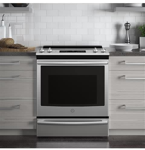 Ge Js760slss 30 Inch Slide In Electric Range With True Convection Fast Preheat Steam Clean Dual Element Boil Warming Zone Storage Drawer