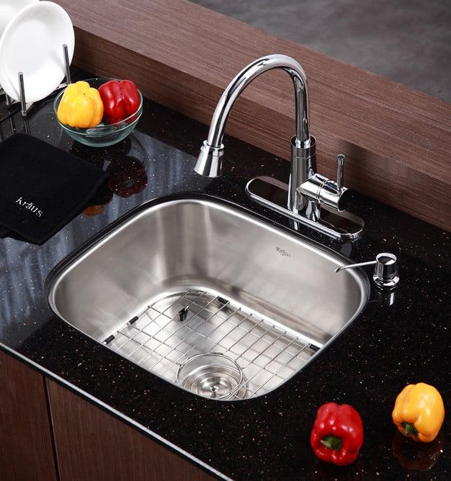 20 Kitchen Sink Kraus kbu11 20 inch undermount single bowl kitchen sink with 16 kraus kitchen sink series kbu11 lifestyle view workwithnaturefo