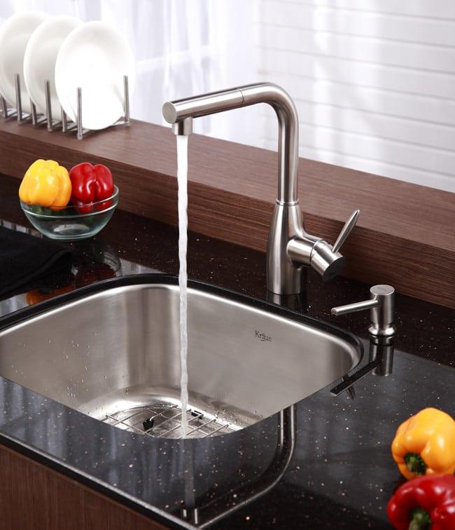 Sink Bowls For Kitchen Kraus kbu11 20 inch undermount single bowl kitchen sink with 16 kraus kitchen sink series kbu11 lifestyle view workwithnaturefo