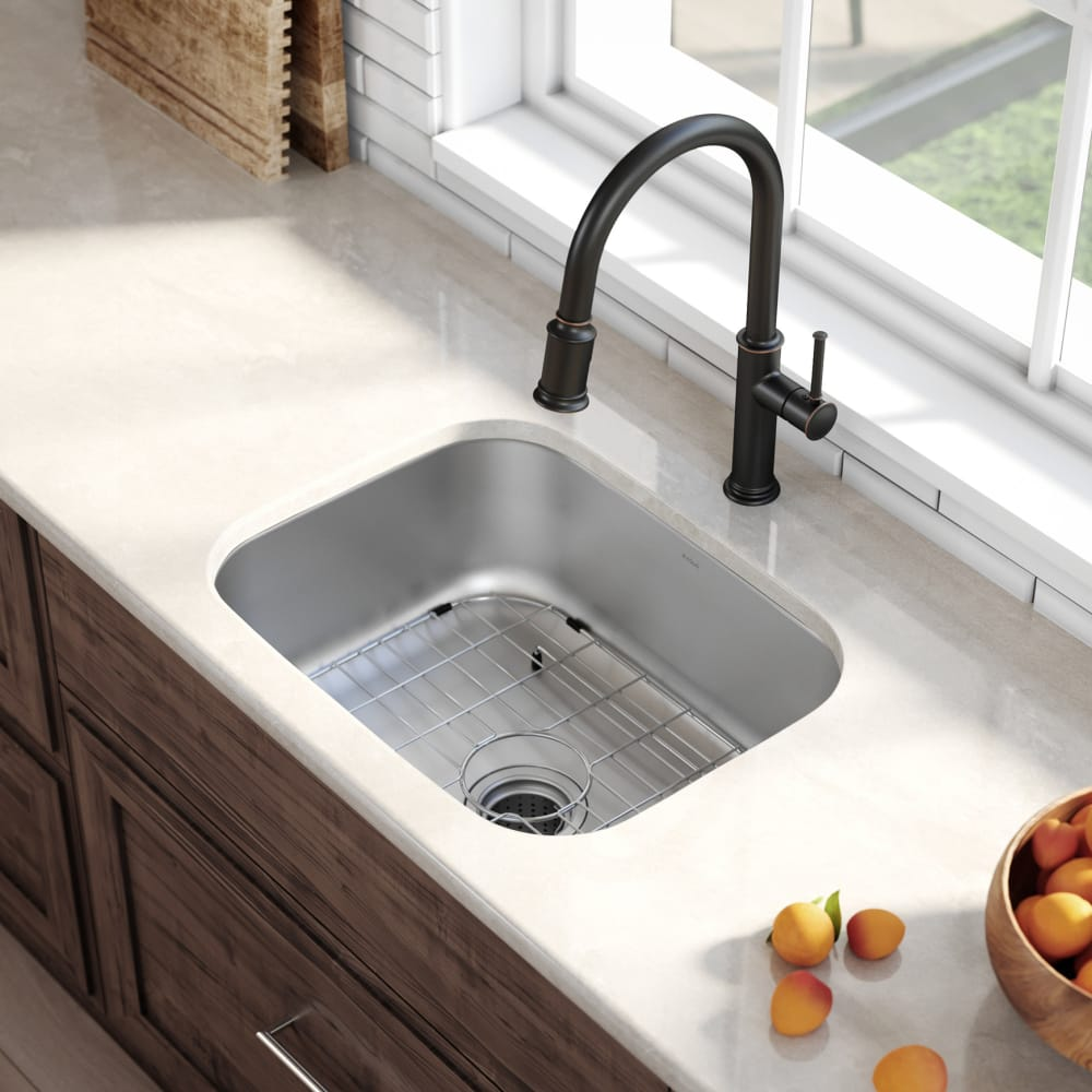 Kraus Kbu12 23 Inch Undermount Single Bowl Stainless Steel Kitchen Sink With 9 Inch Bowl Depth 16 Gauge Scratch Resistant Undercoated