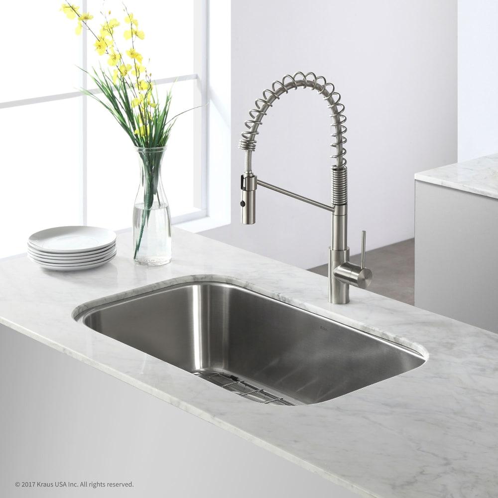 Kraus KBU14 31 Inch Undermount Single Bowl Stainless Steel Kitchen ...