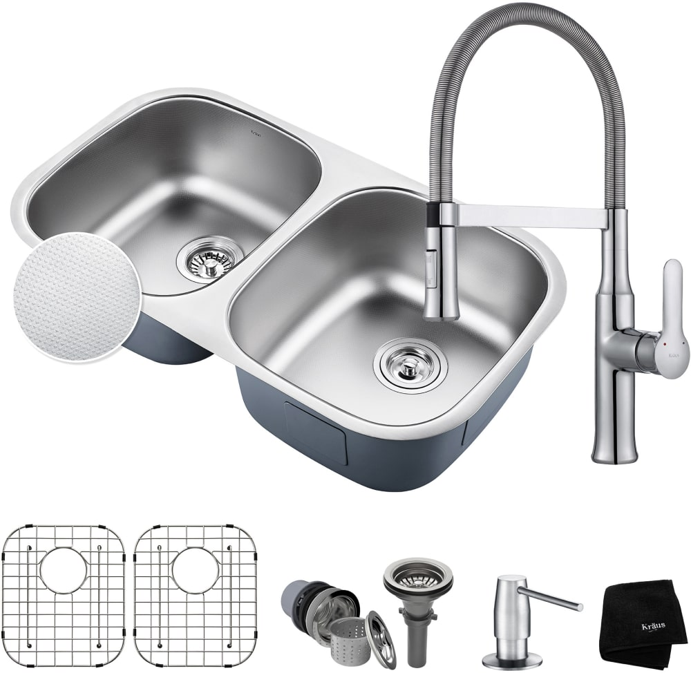 kraus kbu22e164042ch 32 inch double bowl kitchen sink and flex commercial faucet combo with. Black Bedroom Furniture Sets. Home Design Ideas