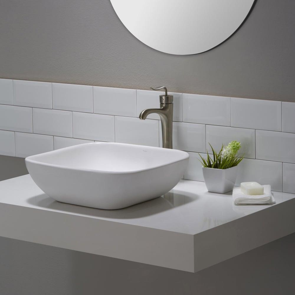 Kraus Kcv127 18 Inch Soft Square Ceramic Vessel Bathroom