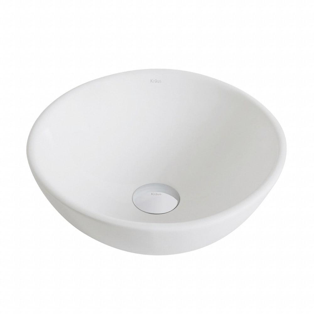 Kraus KCV341 14 Inch Small Round Ceramic Vessel Bathroom ...