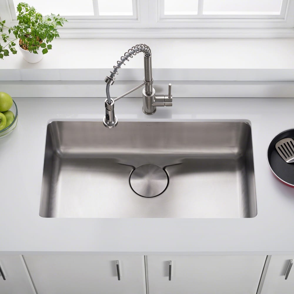 Kraus Kd1us33b 33 Inch Undermount Single Bowl Kitchen Sink With Drainure Waterway Noisedefend Technology And 16 Gauge Stainless Steel