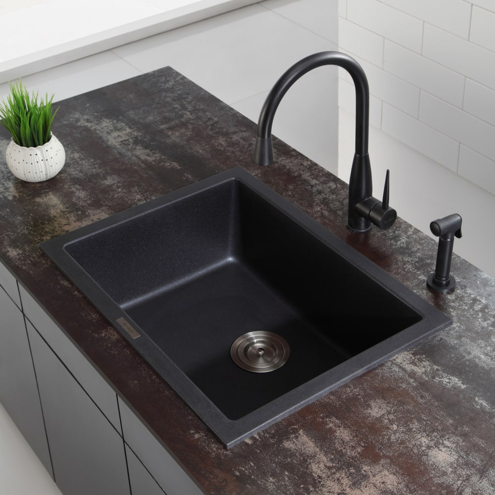 Granite Kitchen Sink: Kraus KGD410B 24 Inch Dual Mount Single Bowl Granite