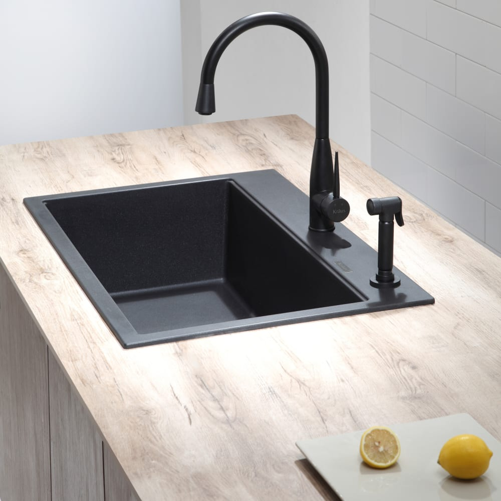 Kraus KGD412B 31 Inch Dual Mount Single Bowl Granite Kitchen Sink ...