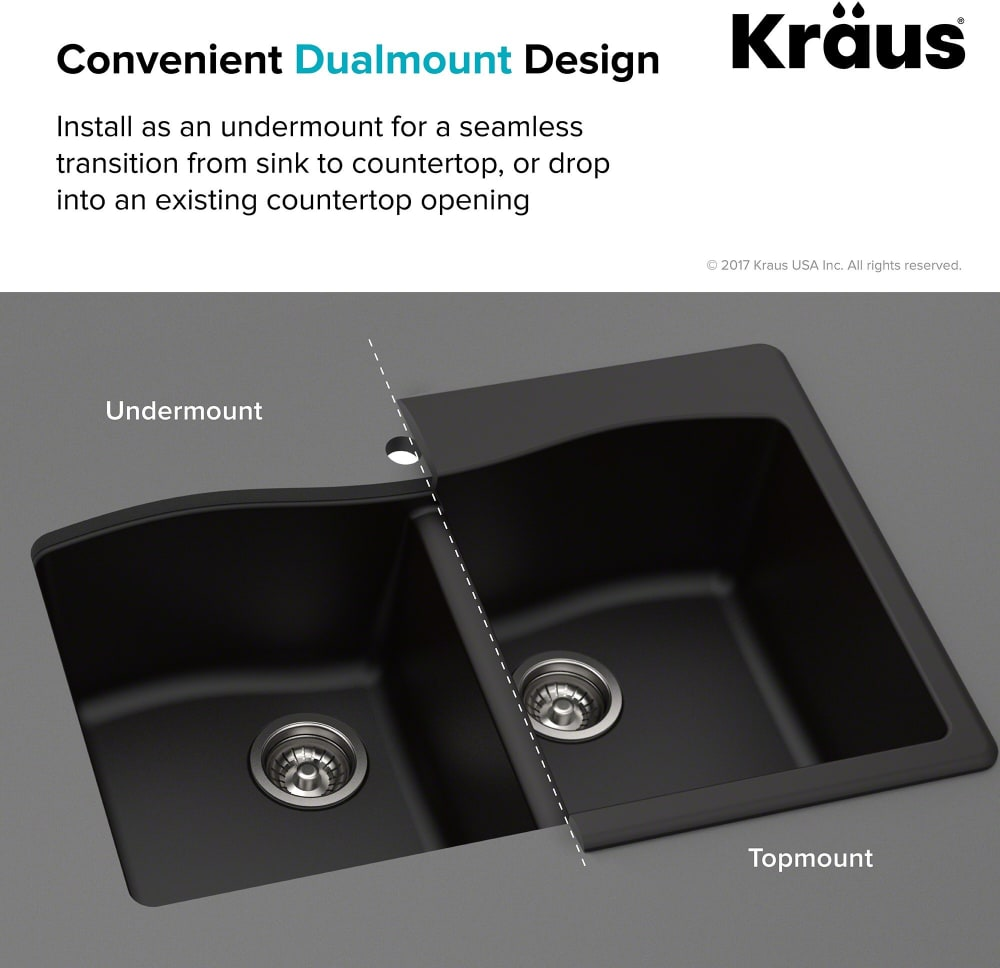 Kraus KGD50GREY 33 Inch Dual Mount 60/40 Double Bowl Granite Kitchen on 24 x 16 sink, hammered copper farmhouse sink, cast iron undermount double sink, copper bowl sink, 24 bathroom vanity with sink, 70 30 undermount stainless steel sink,