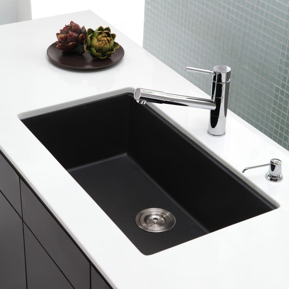 Kraus KGU413B 31 Inch Undermount Single Bowl Granite Kitchen Sink ...