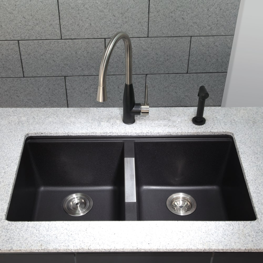 Granite Kitchen Sink: Kraus KGU434B 33 Inch Undermount 50/50 Double Bowl Granite