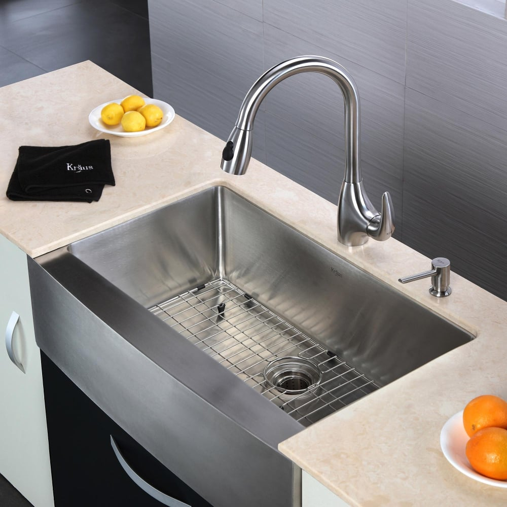 20 Inch Farmhouse Sink : KHF20033KPF2170SD20 33 Inch Farmhouse Single Bowl Stainless Steel Sink ...