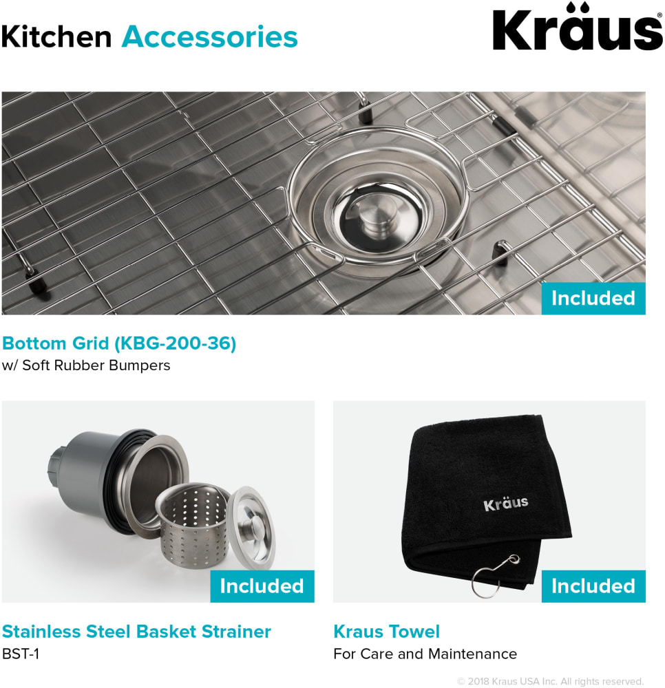 Kraus Khf20036 36 Inch Farmhouse Single Bowl Kitchen Sink With 16 Gauge Stainless Steel Construction Scratch Resistant Finish Rear Set Drain