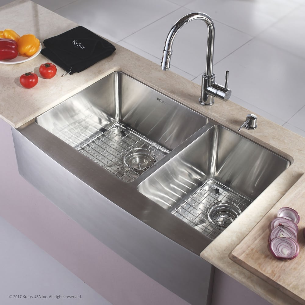 full depth kitchen sink kraus khf20333 33 inch farmhouse 60 40 bowl kitchen 3663