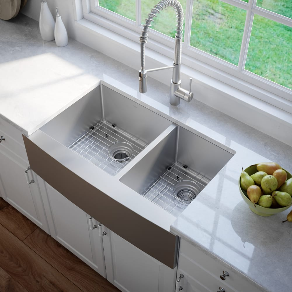 Kraus Khf20333 33 Inch Farmhouse 60 40 Double Bowl Kitchen Sink With 16 Gauge 10 Depth Rear Set Drain Opening And Stone Guard Undercoating