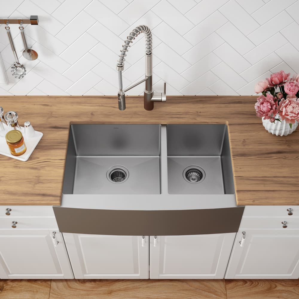 Kraus KHF20333 33 Inch Farmhouse 60/40 Double Bowl Kitchen Sink with on 24 bathroom vanity with sink, copper bowl sink, 24 x 16 sink, hammered copper farmhouse sink, cast iron undermount double sink, 70 30 undermount stainless steel sink,