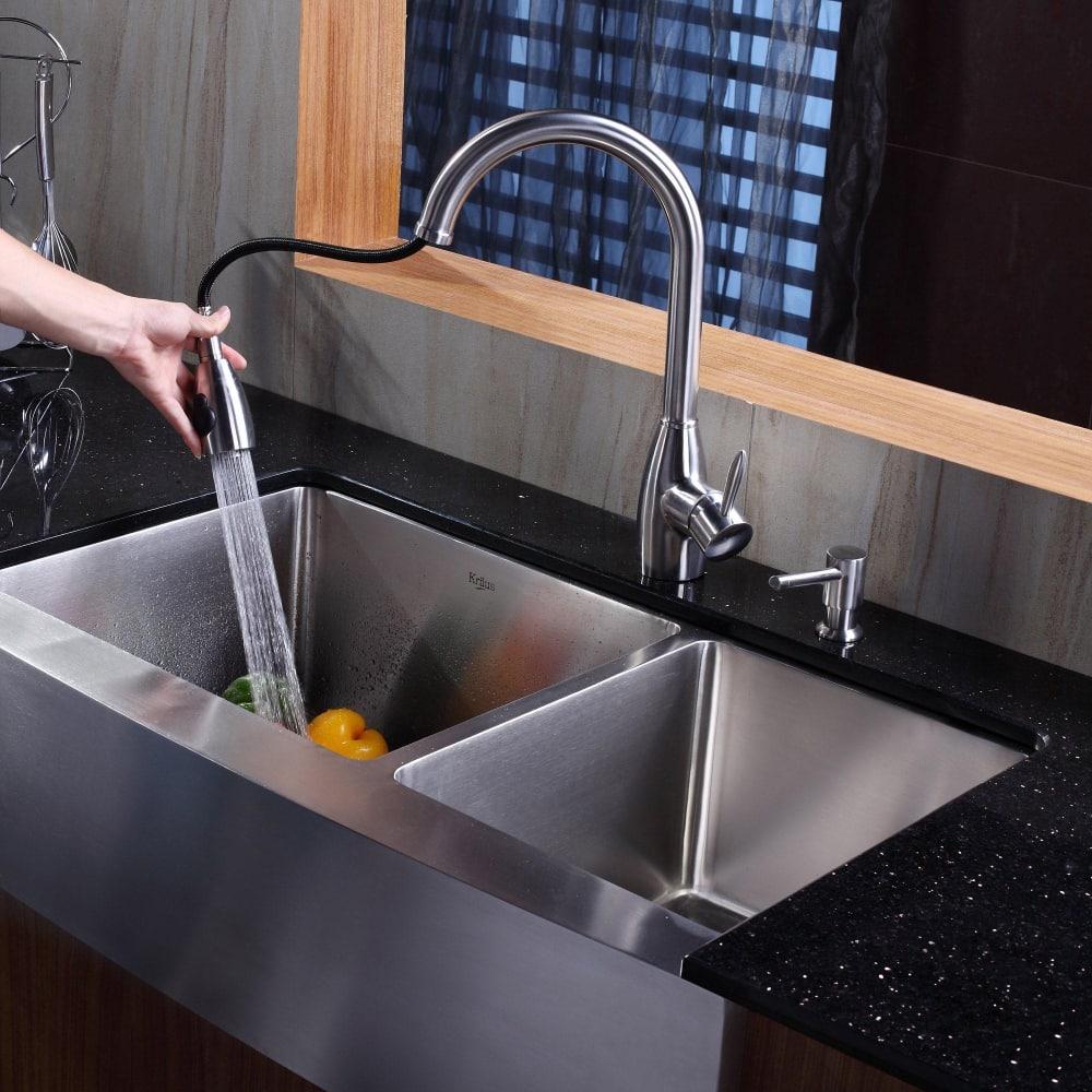 Kraus Khf203 33 Kpf2170 Sd20 Farmhouse Double Bowl Kitchen: Kraus KHF20336KPF2130SD20 36 Inch Stainless Steel 60/40