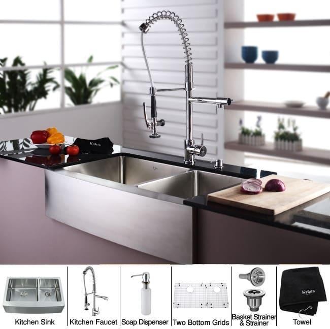 36 inch kitchen sink small farm kraus kitchen combo series khf20336kpf1602ksd30ch sink and accessories 36 inch farmhouse double bowl stainless