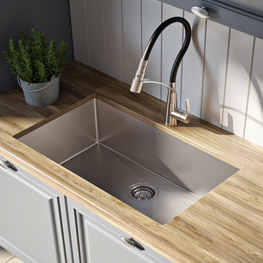 Kraus Khu10026 26 Inch Undermount Single Bowl Kitchen Sink With 16 Gauge Stainless Steel Noisedefend Technology And Durable Dent Resistant