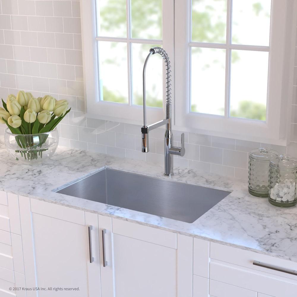 Kraus KHU10030 30 Inch Undermount Single Bowl Kitchen Sink with 16 ...