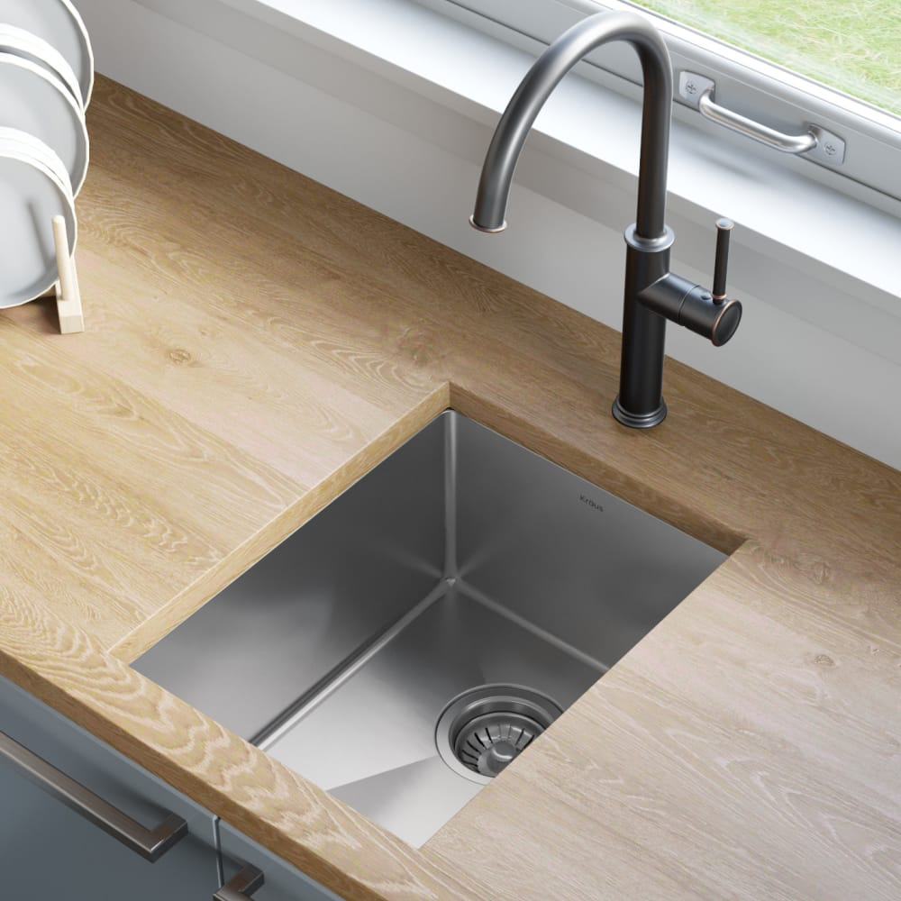 Kraus Khu10114 14 Inch Undermount Stainless Steel Kitchen Bar Sink With Tru16 Noisedefend Technology And Rust Resistant Finish